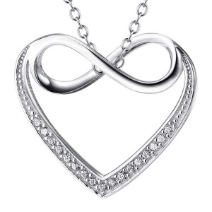 Beautiful Necklace with Heart Shaped Sterling Silver Pendant embedded with Infinity Sign