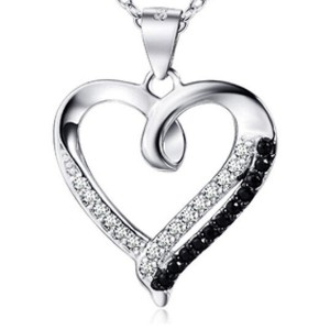 Genuine Sterling Silver Heart Shaped Pendant with Black and White Zinconia Gems