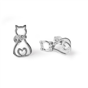 Earrings of a Cat with Heartshaped Tail