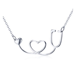 Sterling Silver I Love You Stethoscope for Nurses & Doctors
