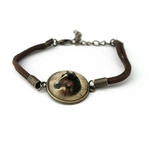 Leather Bracelet with Horse details
