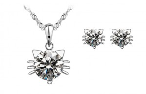 Pure 925 Sterling Silver Crystal Cat Necklace/Earrings
