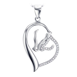 Silver heart shaped Mother Horse with Foal set in zirconia gems