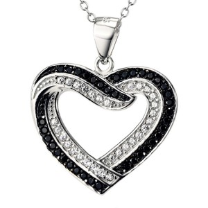 Genuine Sterling Silver Heart Shaped Pendant Surrounded with Black and White Zinconia Gems