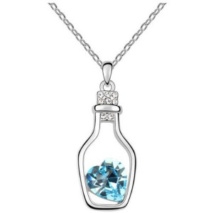 Message in a Bottle Pendant with Crystal Diamond like Accents