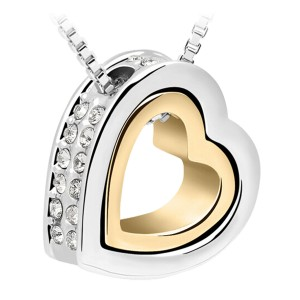 Silver heart with golden heart inside & crystals on the outside
