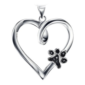 Silver Heart with Puppy Paw in Black Cubic Zirconia Gems