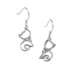 Cat Earrings with Bow Tie from Zirconia Gems