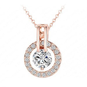 18K Rose Gold Plated Circle Round Pendant & Necklace