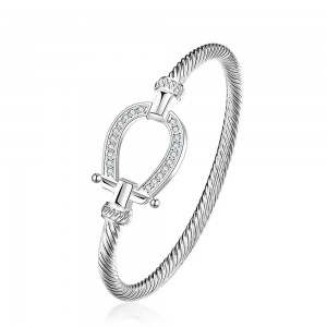 Silver plated 925 stamped Horseshoe waterdrop bracelet with Crystal settings