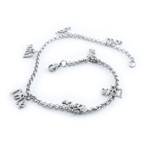 Stainless Steel Silver Plated LOVE Charms Anklets