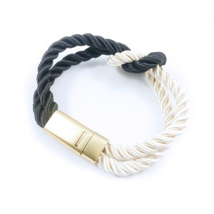 Fashion Braided Rope Chain with Magnetic Clasp Bow Charm