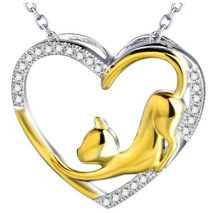 Sterling Silver Pendant Heart with a Gold Cat surrounded by Zirconia Gems