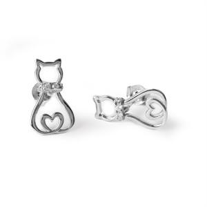 Oorbellen met knopjes van een poes met een hartje in de staart