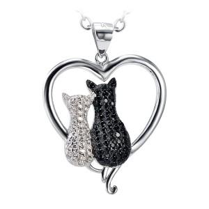 Twee Zirconia poezen samen in een hart van zilver