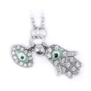Silver Blue Evil Eye Hamsa Hand Fatima Palm Necklace