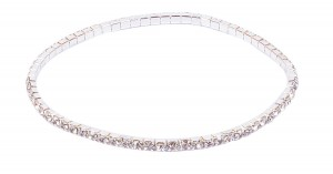 One Row Clear Crystal Silver Colored Stretch Anklet