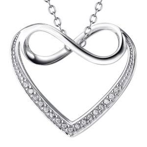 Schitterende Ketting met een Hart van Echt Zilver met Infinity teken