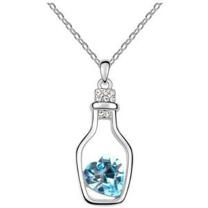 Mooie Bericht in een Fles hanger met blauwe en witte crystallen