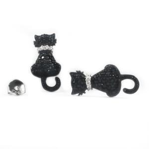 Schitterende oorbelletjes van zwarte zirkonia kat