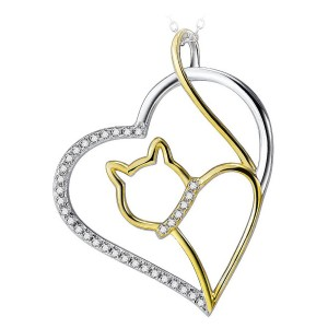 Prachtige 18k gouden kat in een zilveren hart met Zirkonia steentjes in hals en hart