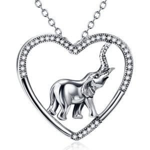 Mooie zilveren hanger met Zirkonia steentjes en een zilveren olifant in het hart