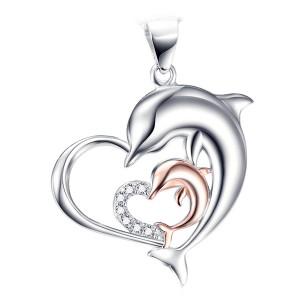 Zilveren hart met een zirkonia hartje met twee dolfijnen