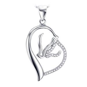 Mooie zilveren hart van moederpaard met haar veulen van zirkonia steentjes