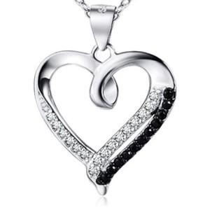 Herzförmiger Anhänger aus echtem Sterlingsilber mit schwarzen und weißen Zirkoniasteinen