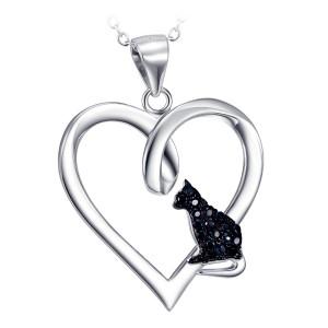 S925 Silber Herzen mit kleinen Katze Zirkonia Steinen