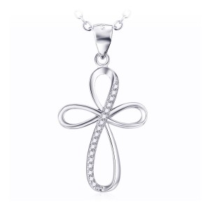 Silver curvy Cross with cubic zirconia stones and chain