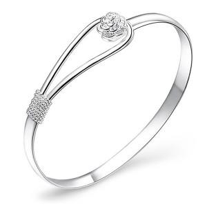 Silver plated Circle Flower Rose Cuff Bangle Bracelet