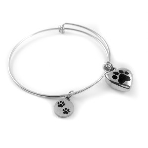 Paw Bangle Stainless Steel Cremation Jewelry Bracelet