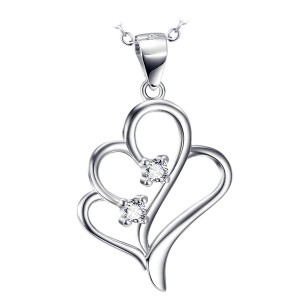 Silver Double Heart with 2 Zirconia Stones