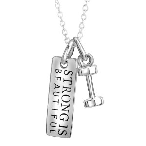 Silver Fitness Strong is Beautiful Pendant with Chain necklace