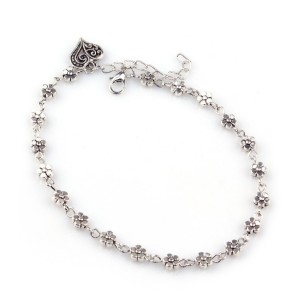 Silver Colored Jewelry Anklet with beads