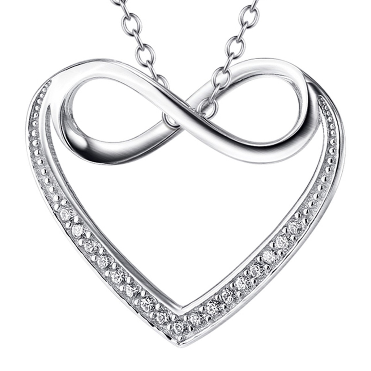love az sign necklace layered infinity bling figure jewelry pfs silver previous set heart